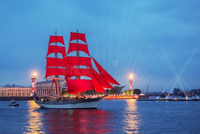 "Swedish brig ""Tre Krunur"" on rehearsal for the annual celebration school graduates Scarlet Sails in St. Petersburg royalty free stock image"