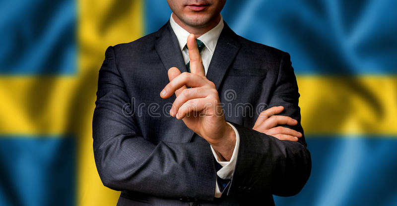 Swedish candidate speaks to the people crowd stock photography