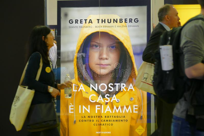 Swedish climate activist Greta Thunberg publish in Italy the book translated as `Our home is on flame`. Turin Italy May 10 2019 royalty free stock photo