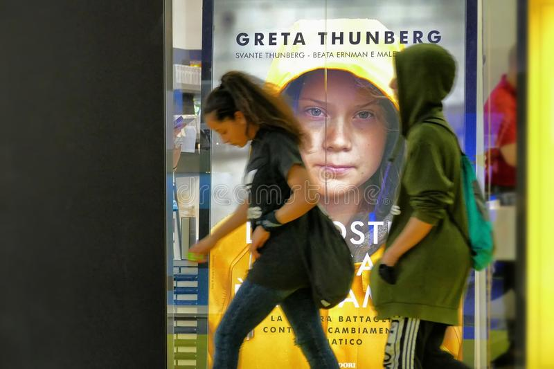 Swedish climate activist Greta Thunberg publish in Italy the book translated as `Our home is on flame`. Turin Italy May 10 2019 royalty free stock photos