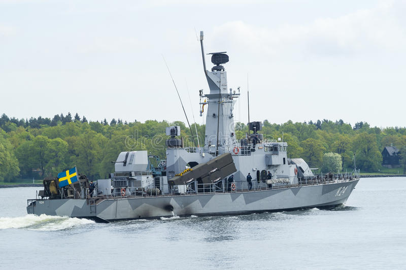 Swedish corvette HMS Sundsvall. HMS Sundsvall, K24 at slow speed in Stockholm inlet. The Göteborg class is a class of corvettes in the Swedish Navy, built stock photos