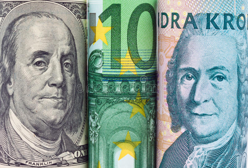 Swedish crowns. Multiple Currencies. Swedish krona, the currency of Sweden. Dollar, euro notes stock image