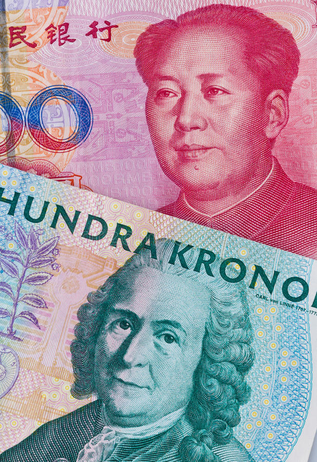 Swedish Crowns And Yuan Royalty Free Stock Images