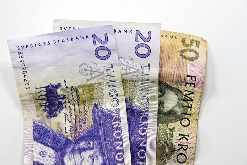 Swedish Currency. A fifty and two twenty Kronor currency. Money royalty free stock photos