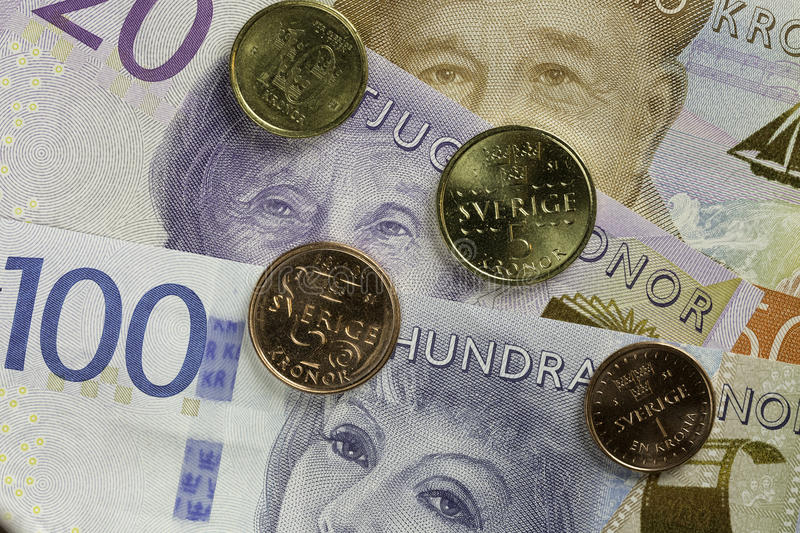 Swedish Currency Close Up. Swedish Currency, bills and coins Close Up stock image
