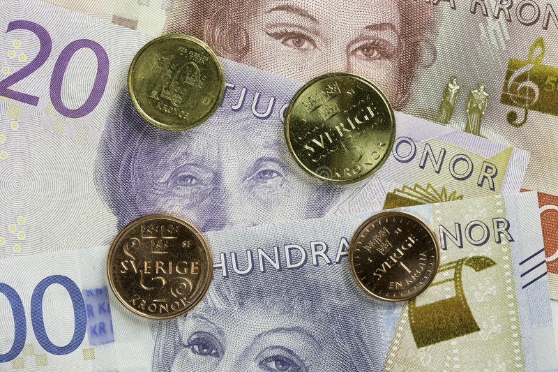 Swedish Currency Close Up. Swedish Currency, coins and bills Close Up stock photo