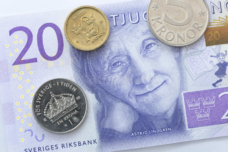 Swedish Currency Close Up. New note introduecd in 2015 stock photo