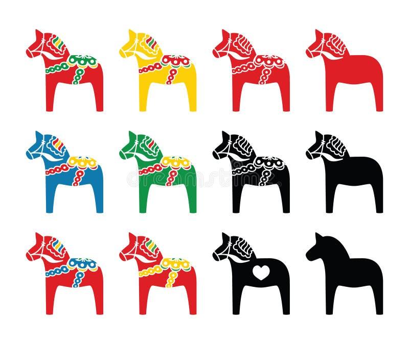 Swedish dala horse vector icons set vector illustration