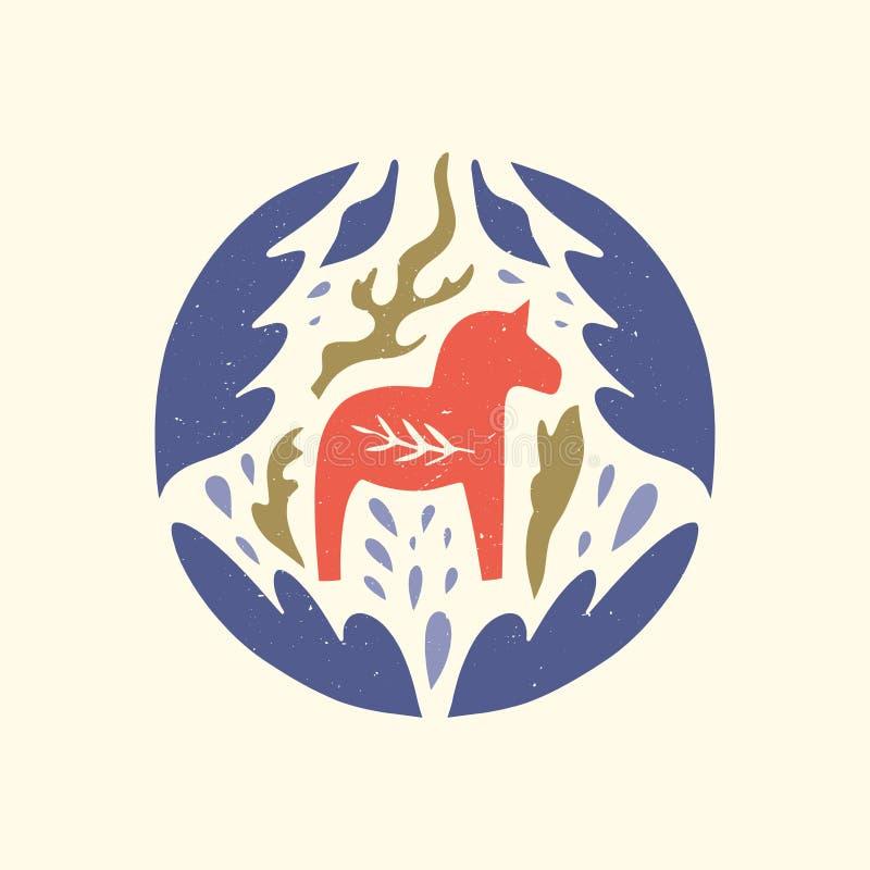 Swedish Dala red horse in the pattern, scandinavian folk design, floral ornament. Logo or label. Dalecarlian vector royalty free illustration