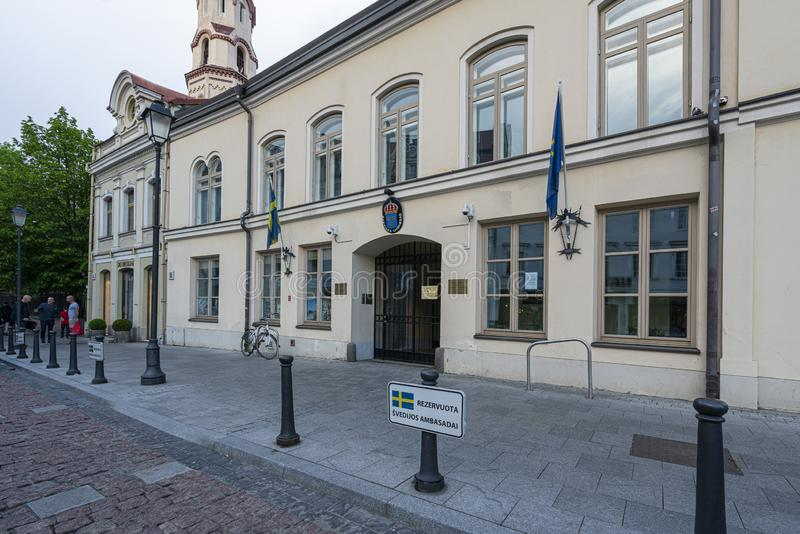 The Swedish embassy in Vilnius stock images