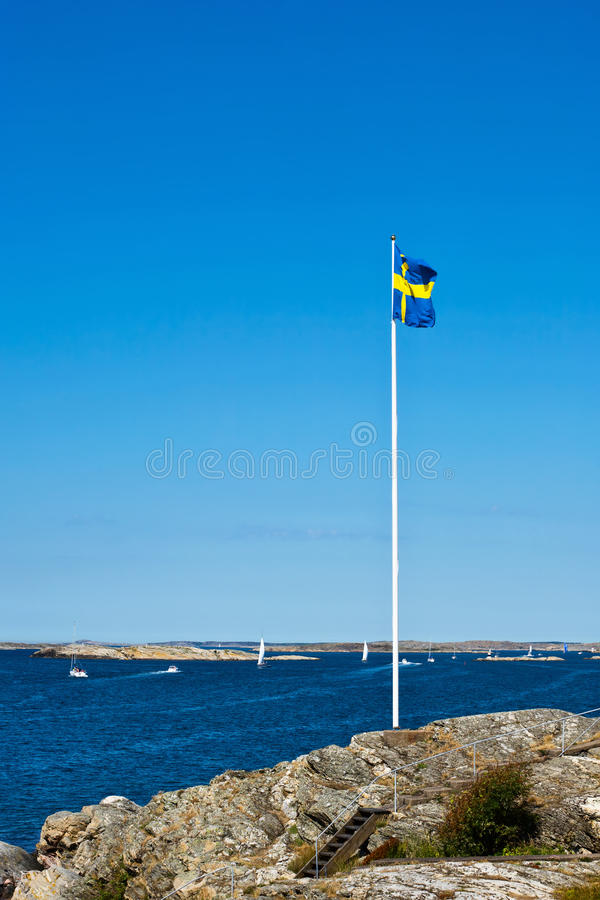 Download Swedish flag stock photo. Image of seashore, cliff, beauty - 17834856
