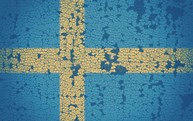 Swedish flag. On cracked background stock photos