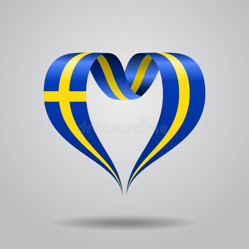 Swedish flag heart-shaped ribbon. Vector illustration. stock illustration