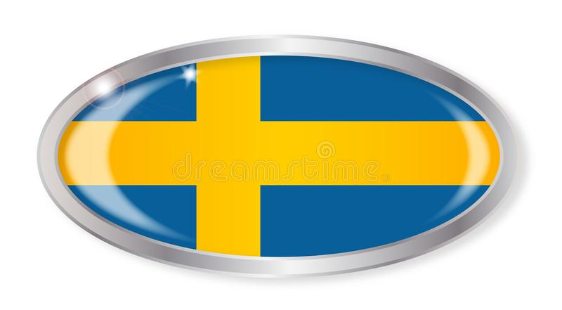 Swedish Flag Oval Button vector illustration