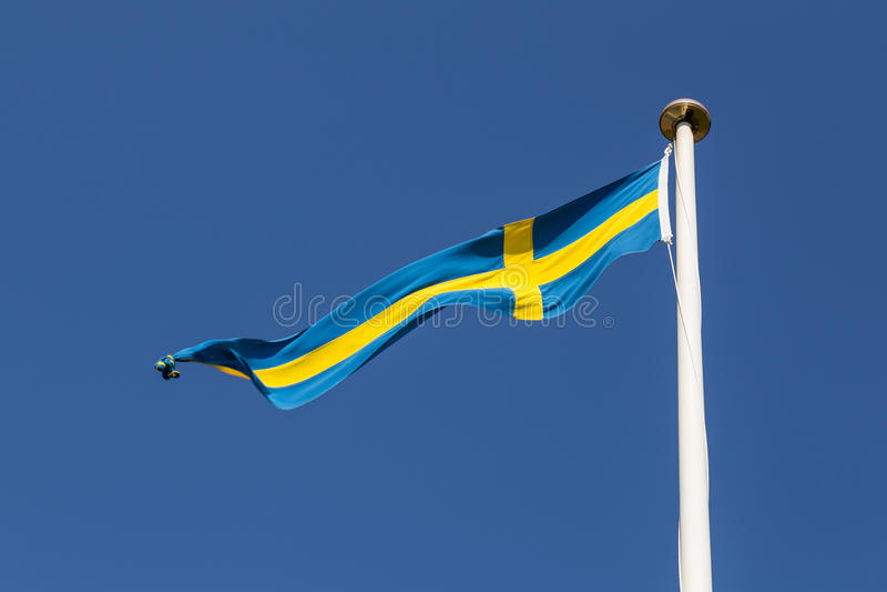 Swedish Flag. Photograph of a long and thin Swedish flag royalty free stock images
