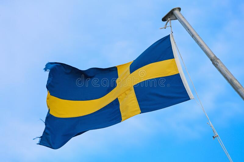 Swedish Flag Sky stock image