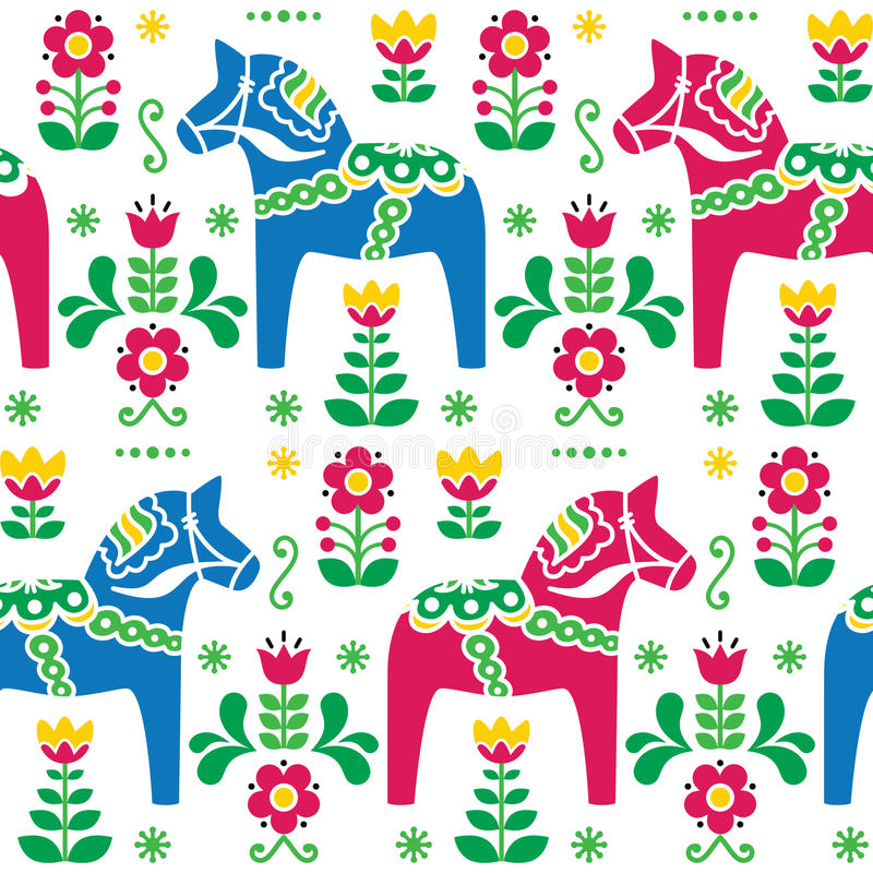 Swedish folk art Dala or Daleclarian horse seamless pattern. Traditional Scandinavian background - Dala pink and blue horses with flowers pattern isolated on