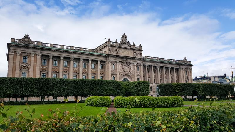 Swedish House of Parliament wide angle shot with garden on foreground stock photo