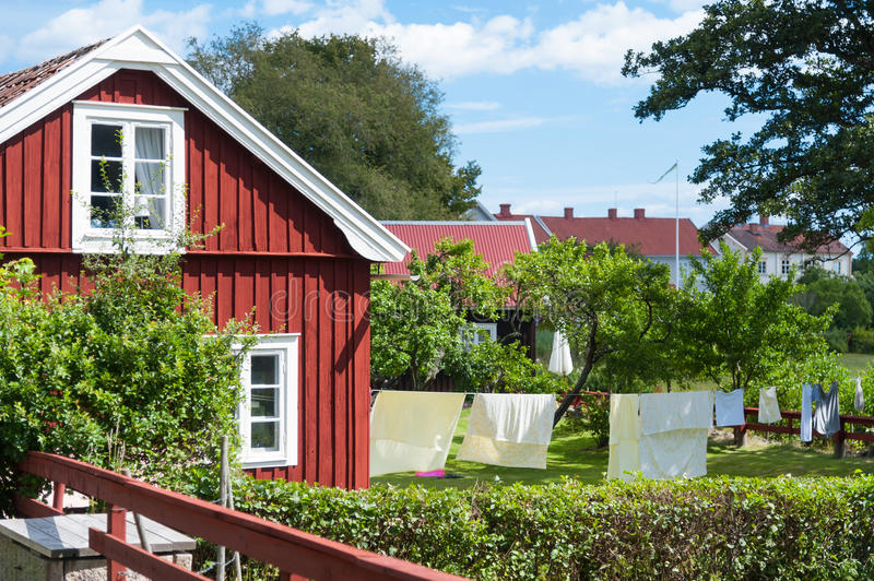 Tiny House Town Beautiful Seattle Tiny House: Swedish Idyll With Typical Red Stock Photography
