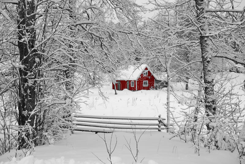 Swedish idyllic red house stock photography