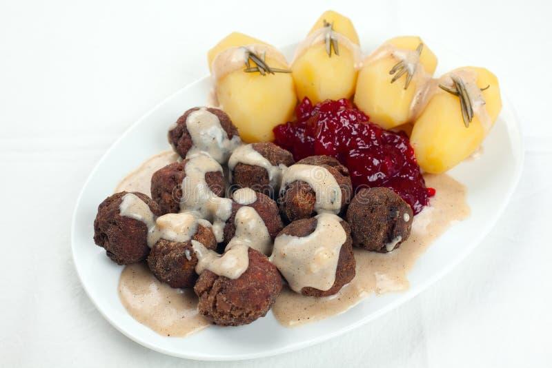 Swedish Kottbullar Meatball Sauce Potatoes Jam Stock Photography