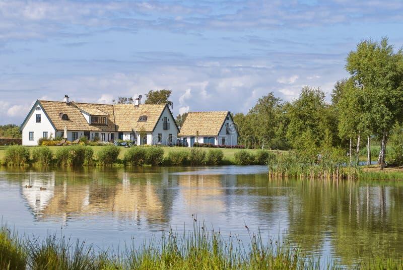 Swedish lakehouse royalty free stock photography