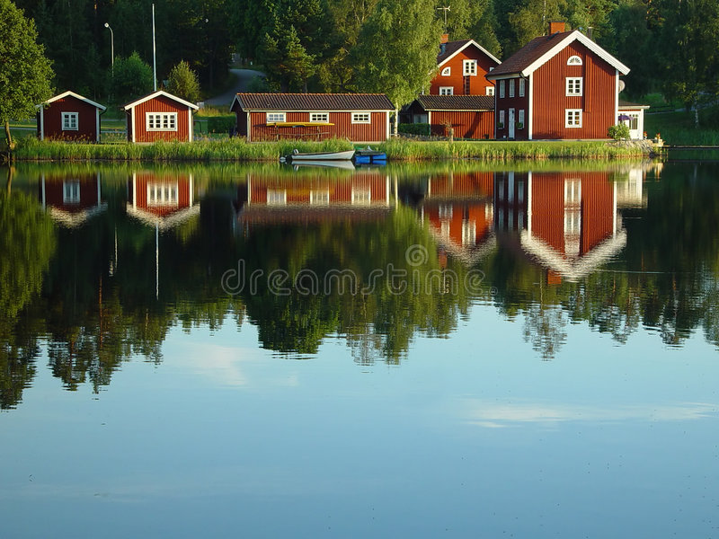 Swedish lakeside stock photo