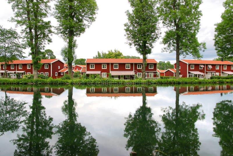 Swedish lakeside on a warm summer evening stock photos