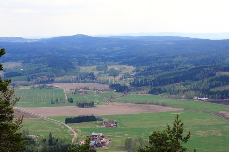 Swedish landscape aerial view stock photos