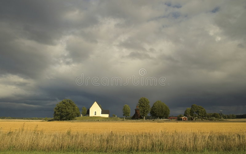 Swedish landscape with dramatic sky royalty free stock images
