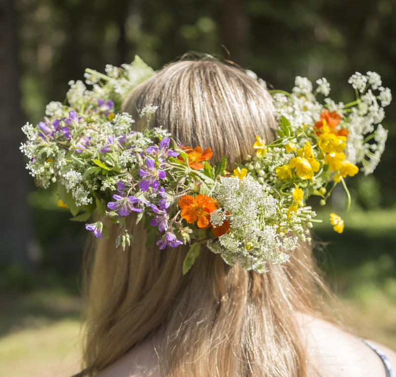 Swedish Midsummer Headgear Traditional. On a female head of hair royalty free stock images