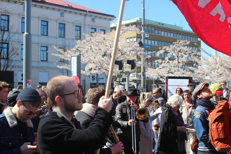 Swedish people at International workers day in Gothenburg, Sweden, social democrats, crowds, political gathering. International worker's day celebrated by social stock image