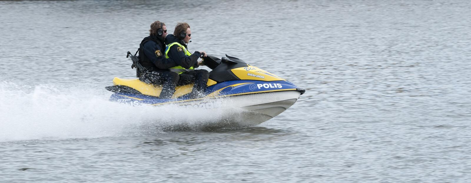 Swedish Police watercraft at high speed royalty free stock images
