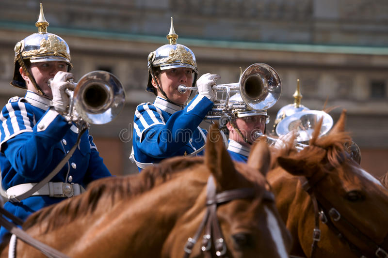 Swedish Royal Guard with traditional uniform royalty free stock photography