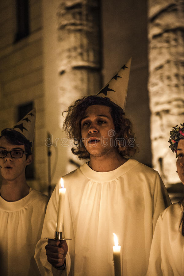 Swedish singers for the feast of Saint Lucia on the evening of D royalty free stock photos