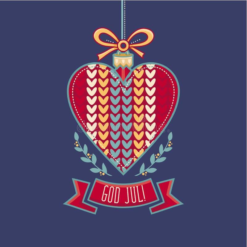 Swedish Text God Jul Means Merry Christmas For Seasons Greetings. Scandinavian Christmas card. Julekort med royalty free illustration