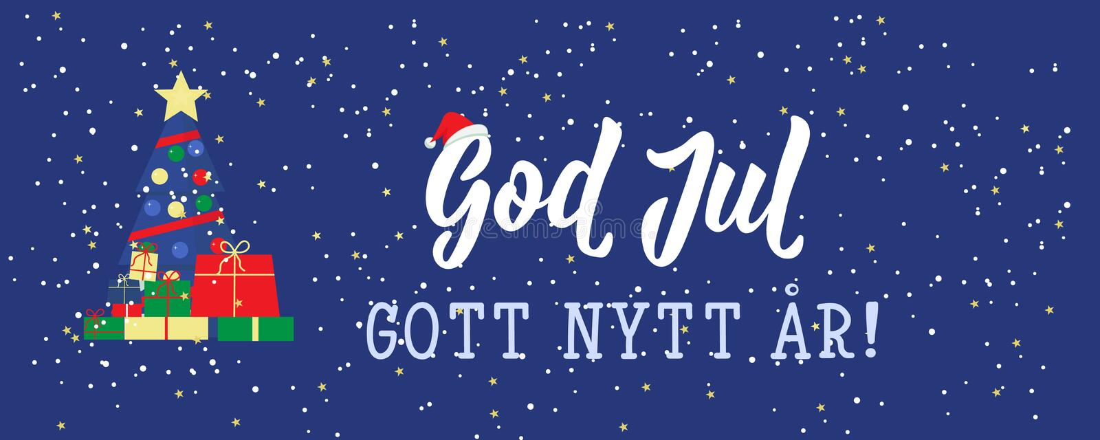 Swedish text: Merry Christmas. Happy New Year. Lettering. Banner. calligraphy vector illustration. God Jul. Christmas banner. Swedish text: Merry Christmas vector illustration
