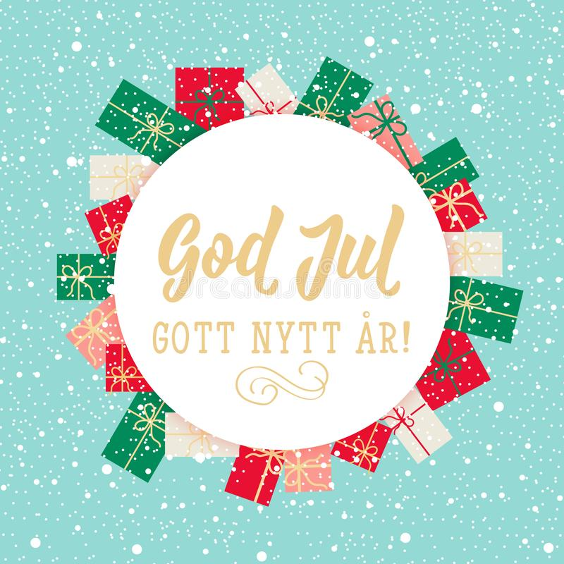 Swedish text: Merry Christmas. Happy New Year. Lettering. calligraphy vector illustration. God Jul. Christmas card. Swedish text: Merry Christmas. Happy New royalty free illustration