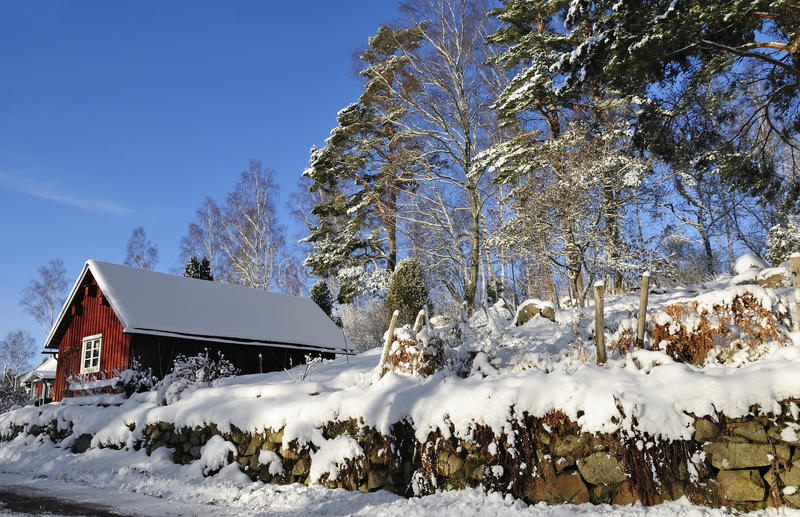Swedish village architecture in winter stock image