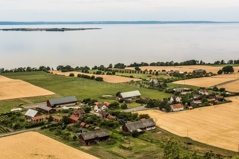 Swedish village on the lakeside - aerial royalty free stock photo