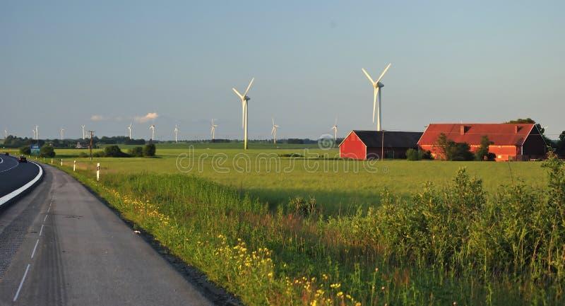 Swedish windmills landscape stock photos
