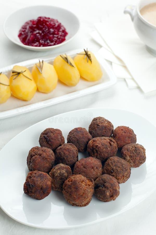 Download Sweedish Kottbullar Meatball Sauce Potatoes Jam Stock Images - Image: 13640954