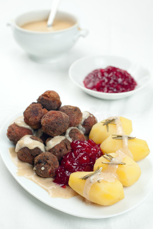 Sweedish Kottbullar Meatball Sauce Potatoes Jam Stock Images