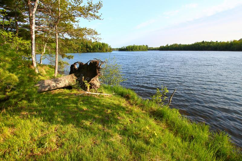 Sweeney Lake Landscape Wisconsin. Evening view of Sweeney Lake in the beautiful northwoods of Wisconsin stock photo