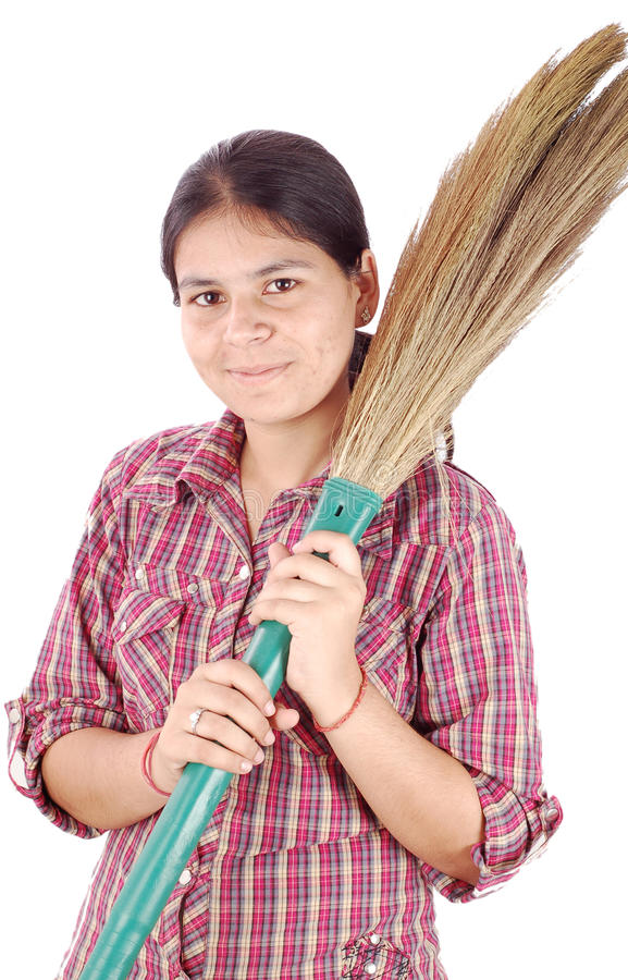 Sweeper girl royalty free stock image