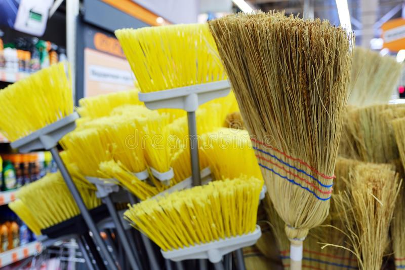Sweeping brushes. Yellow artificial. Made of natural linen dried planted on the shaft royalty free stock photography