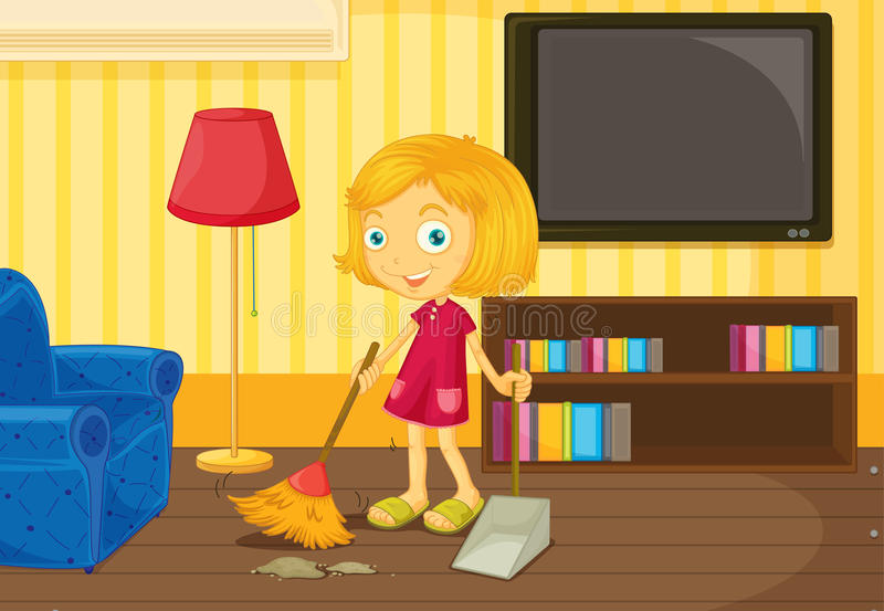 Download Sweeping the floor stock vector. Image of television - 24321862