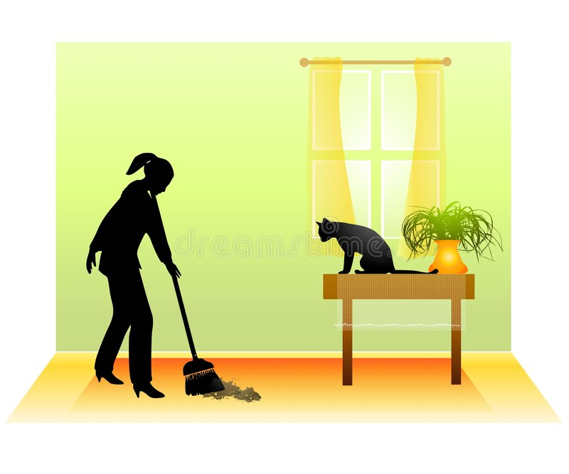 Sweeping The Floor With Cat. An illustration featuring a woman sweeping the floor as her cat sits upon a table and watches stock illustration