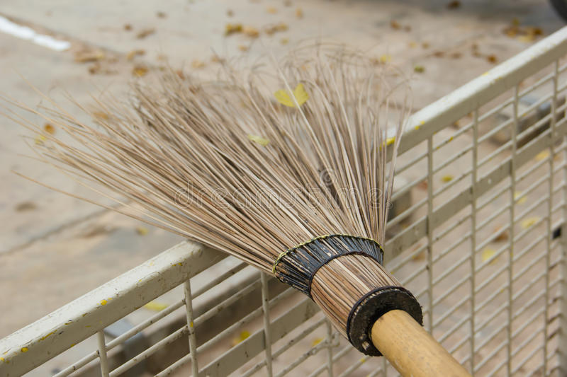 Sweeping Leaf Form Coconut Stick Broom Stock Image Image