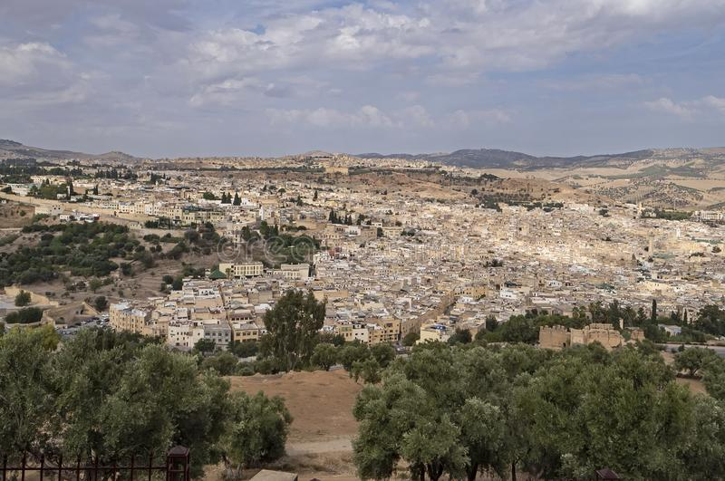 Sweeping View of Fes el Bali, Morocco stock photography